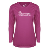 Ladies Syntrel Performance Raspberry Longsleeve Shirt-St Johns
