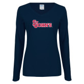 Ladies Navy Long Sleeve V Neck Tee-St Johns