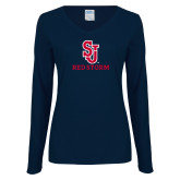 Ladies Navy Long Sleeve V Neck Tee-SJ Redstorm Stacked