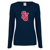 Ladies Navy Long Sleeve V Neck T Shirt-SJ