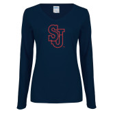 Ladies Navy Long Sleeve V Neck Tee-SJ Red Glitter