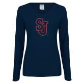 Ladies Navy Long Sleeve V Neck T Shirt-SJ Red Glitter