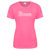 Ladies Performance Hot Pink Tee-St Johns