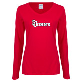 Ladies Red Long Sleeve V Neck T Shirt-St Johns