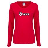Ladies Red Long Sleeve V Neck T Shirt-St Johns