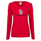 Ladies Red Long Sleeve V Neck T Shirt-SJ Redstorm Stacked