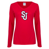 Ladies Red Long Sleeve V Neck Tee-SJ