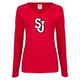 Ladies Red Long Sleeve V Neck T Shirt-SJ