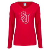 Ladies Red Long Sleeve V Neck Tee-SJ White Glitter