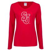 Ladies Red Long Sleeve V Neck T Shirt-SJ White Glitter