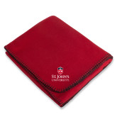 Red Arctic Fleece Blanket-University Mark Stacked