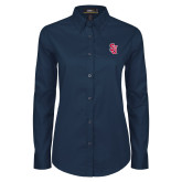 Ladies Navy Twill Button Down Long Sleeve-SJ
