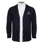 Navy V Neck Cardigan w/Pockets-University Mark Stacked