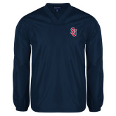 V Neck Navy Raglan Windshirt-SJ
