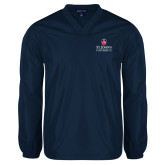 V Neck Navy Raglan Windshirt-University Mark Stacked