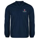 V Neck Navy Raglan Windshirt-University Mark Stacked