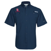 Columbia Tamiami Performance Navy Short Sleeve Shirt-SJ Redstorm Stacked