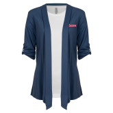 Ladies Navy Drape Front Cardigan-St Johns