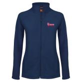 Ladies Fleece Full Zip Navy Jacket-St Johns Red Storm