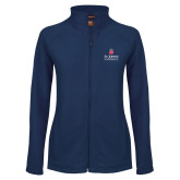 Ladies Fleece Full Zip Navy Jacket-University Mark Stacked