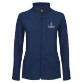 Ladies Fleece Full Zip Navy Jacket-University Mark Stacked