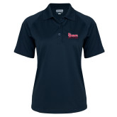 Ladies Navy Textured Saddle Shoulder Polo-St Johns Red Storm