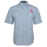 Light Blue Short Sleeve Performance Fishing Shirt-SJ Redstorm Stacked