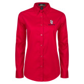 Ladies Red Twill Button Down Long Sleeve-SJ Redstorm Stacked