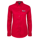 Ladies Red Twill Button Down Long Sleeve-St Johns Red Storm