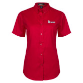 Ladies Red Twill Button Up Short Sleeve-St Johns