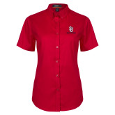 Ladies Red Twill Button Up Short Sleeve-SJ Redstorm Stacked