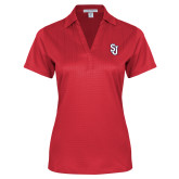 Ladies Red Performance Fine Jacquard Polo-SJ