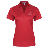 Ladies Red Performance Fine Jacquard Polo-University Mark Stacked