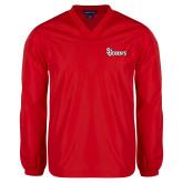 V Neck Red Raglan Windshirt-St Johns
