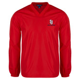 V Neck Red Raglan Windshirt-SJ Redstorm Stacked