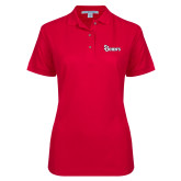 Ladies Easycare Red Pique Polo-St Johns