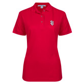 Ladies Easycare Red Pique Polo-SJ