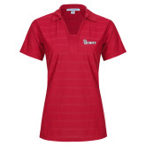 Ladies Red Horizontal Textured Polo-St Johns