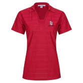 Ladies Red Horizontal Textured Polo-SJ Redstorm Stacked