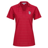 Ladies Red Horizontal Textured Polo-SJ
