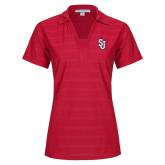 Ladies Red Horizontal Textured Polo-SJ