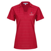 Ladies Red Horizontal Textured Polo-University Mark Stacked