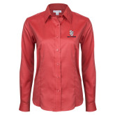Ladies Red House Red Long Sleeve Shirt-SJ Redstorm Stacked