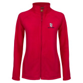 Ladies Fleece Full Zip Red Jacket-SJ Redstorm Stacked