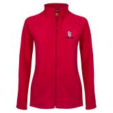 Ladies Fleece Full Zip Red Jacket-SJ Redstorm Stacked