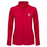 Ladies Fleece Full Zip Red Jacket-SJ