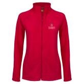Ladies Fleece Full Zip Red Jacket-University Mark Stacked