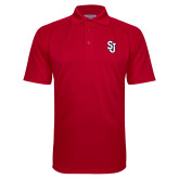 Red Textured Saddle Shoulder Polo-SJ