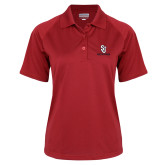 Ladies Red Textured Saddle Shoulder Polo-SJ Redstorm Stacked