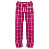 Ladies Dark Fuchsia/White Flannel Pajama Pant-St Johns